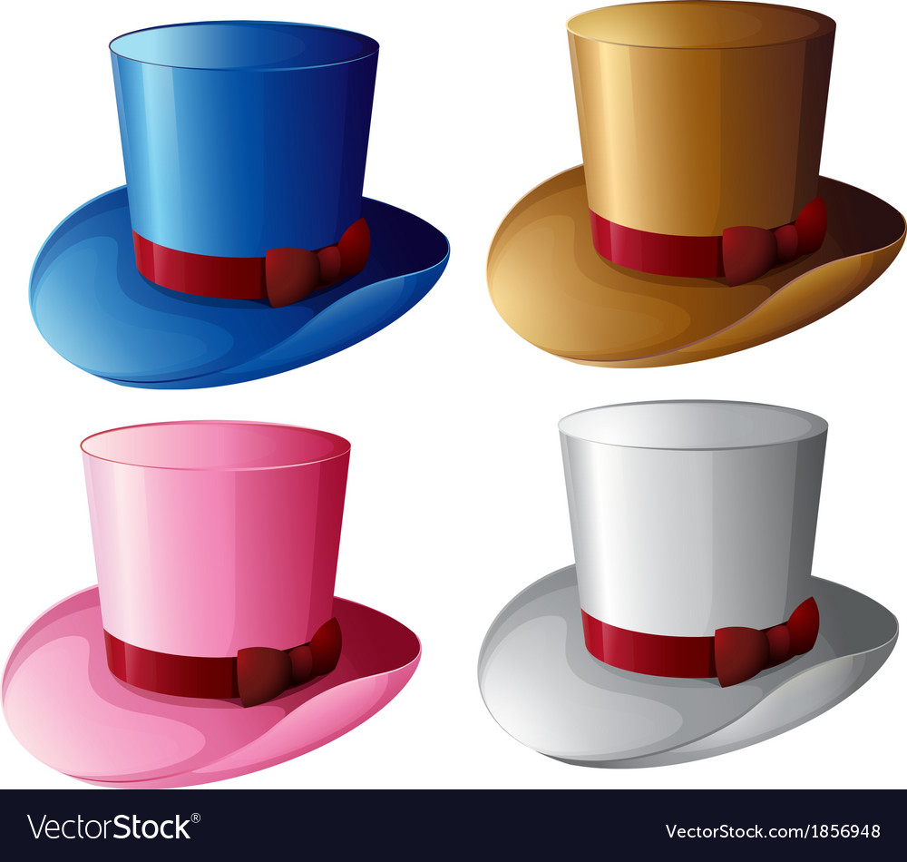 Four hats with red ribbons vector | Price: 1 Credit (USD $1)