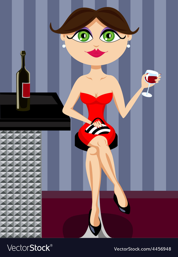 Girl at the bar drinking wine vector | Price: 1 Credit (USD $1)