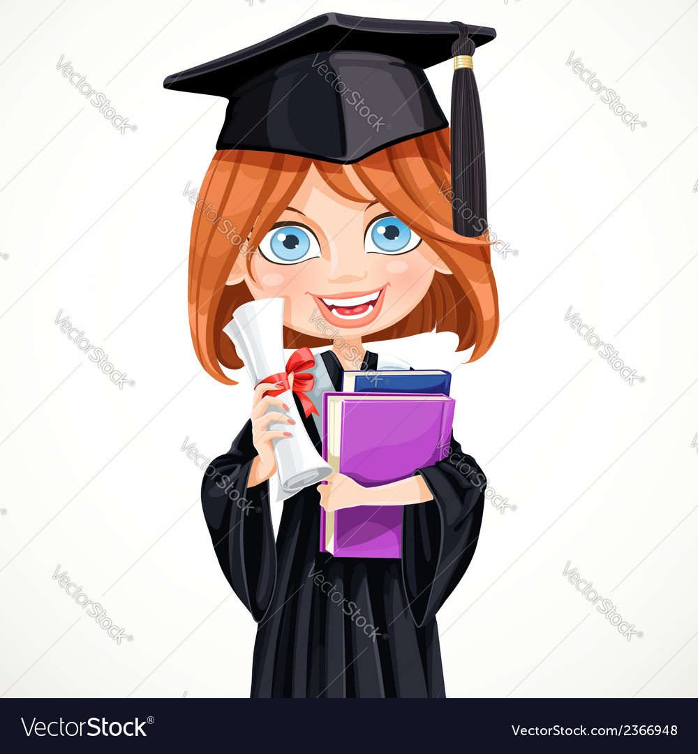 Girl in cap holding a scroll diploma vector | Price: 3 Credit (USD $3)