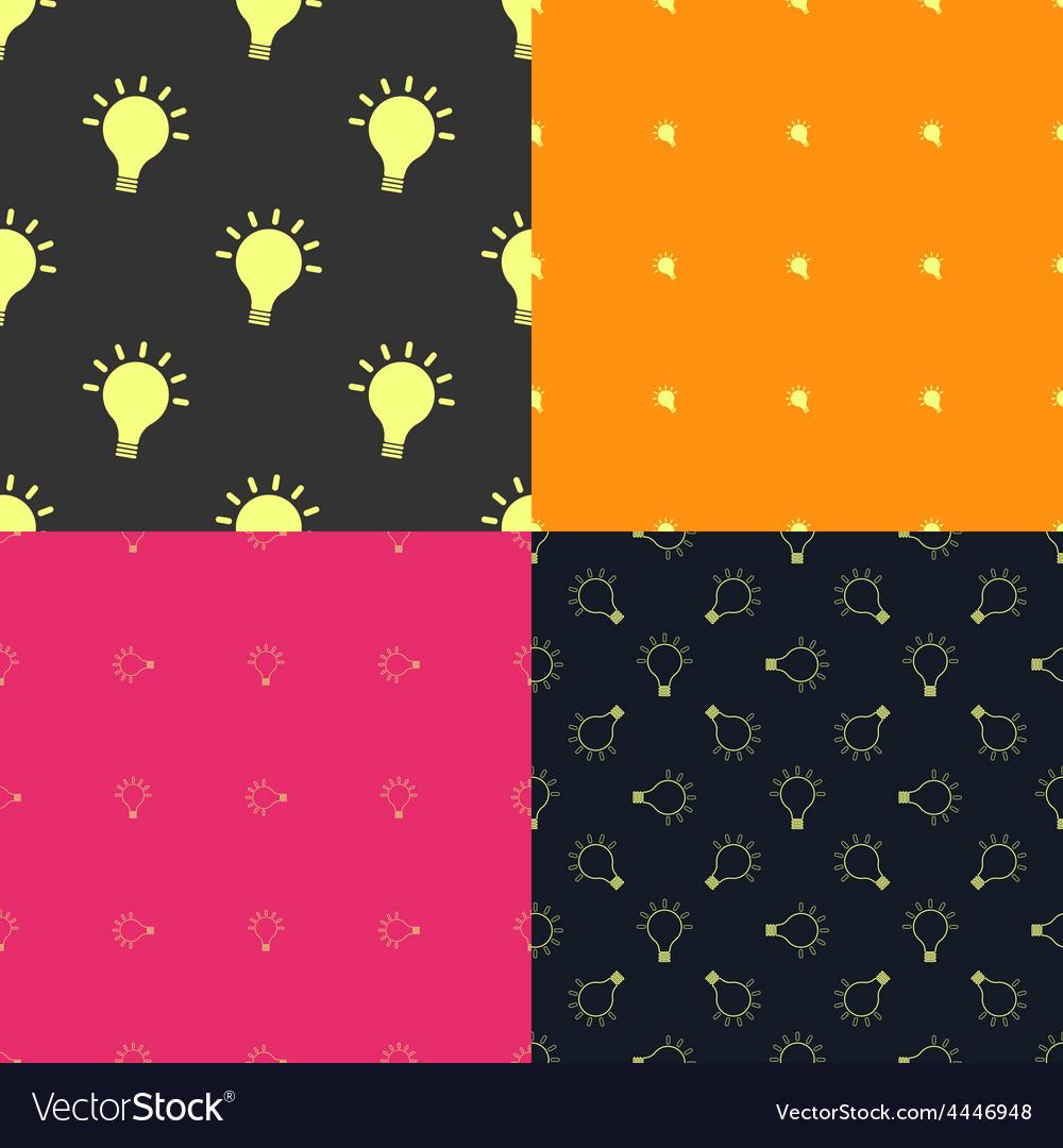 Light bulb creativity seamless patterns set vector | Price: 1 Credit (USD $1)