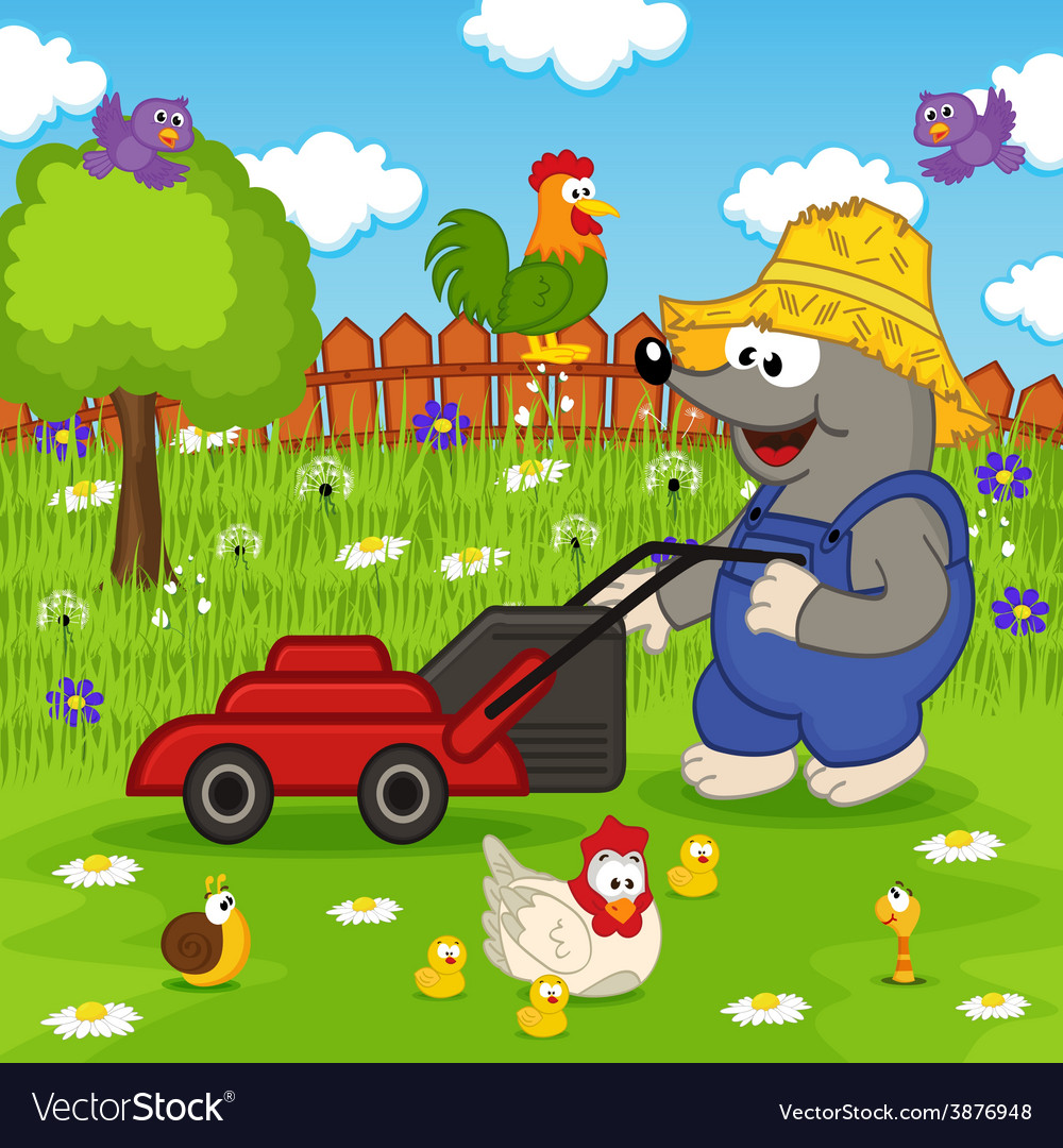 Mole cutting grass lawn mower vector | Price: 3 Credit (USD $3)