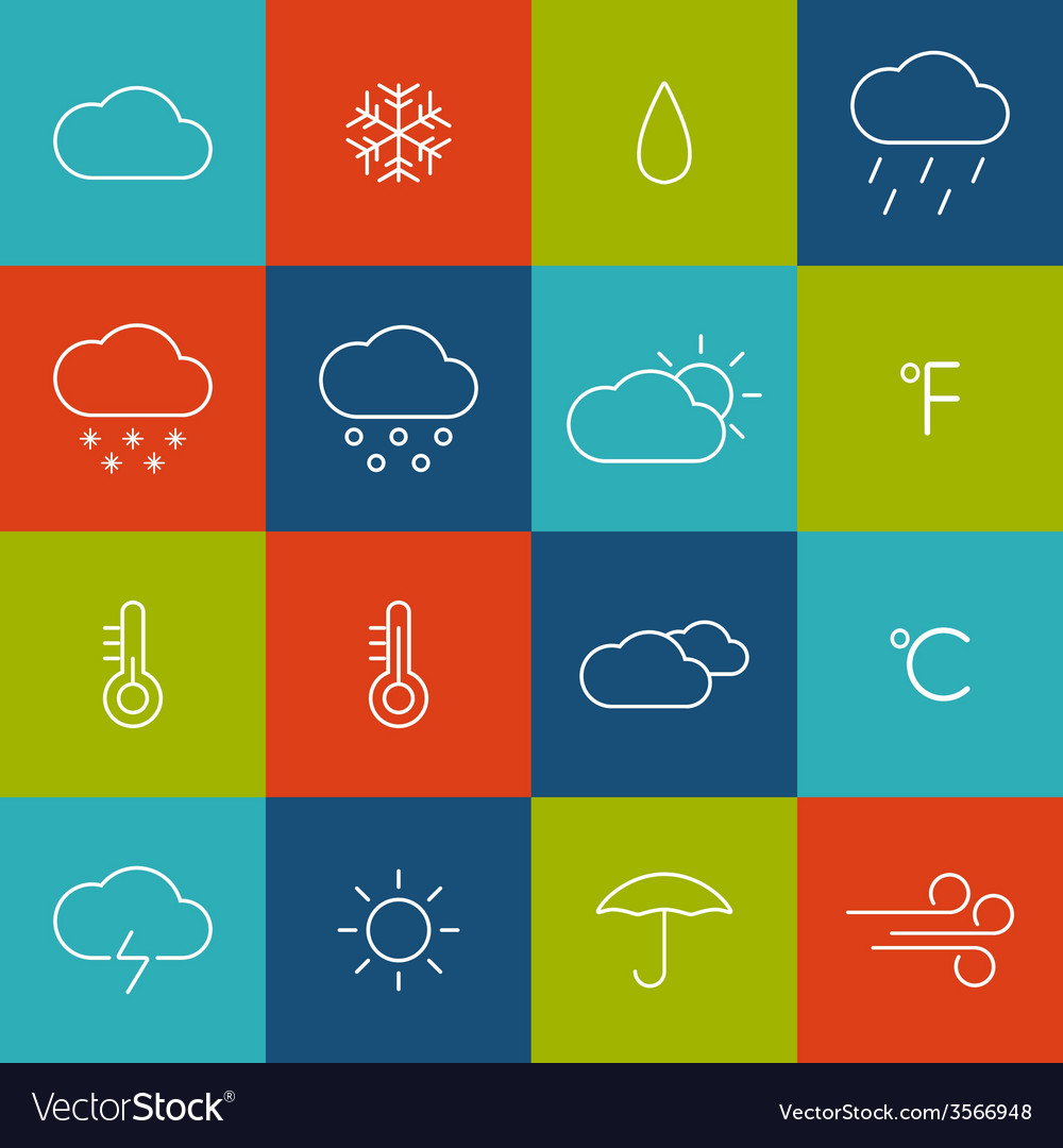 Set weather icons vector | Price: 1 Credit (USD $1)