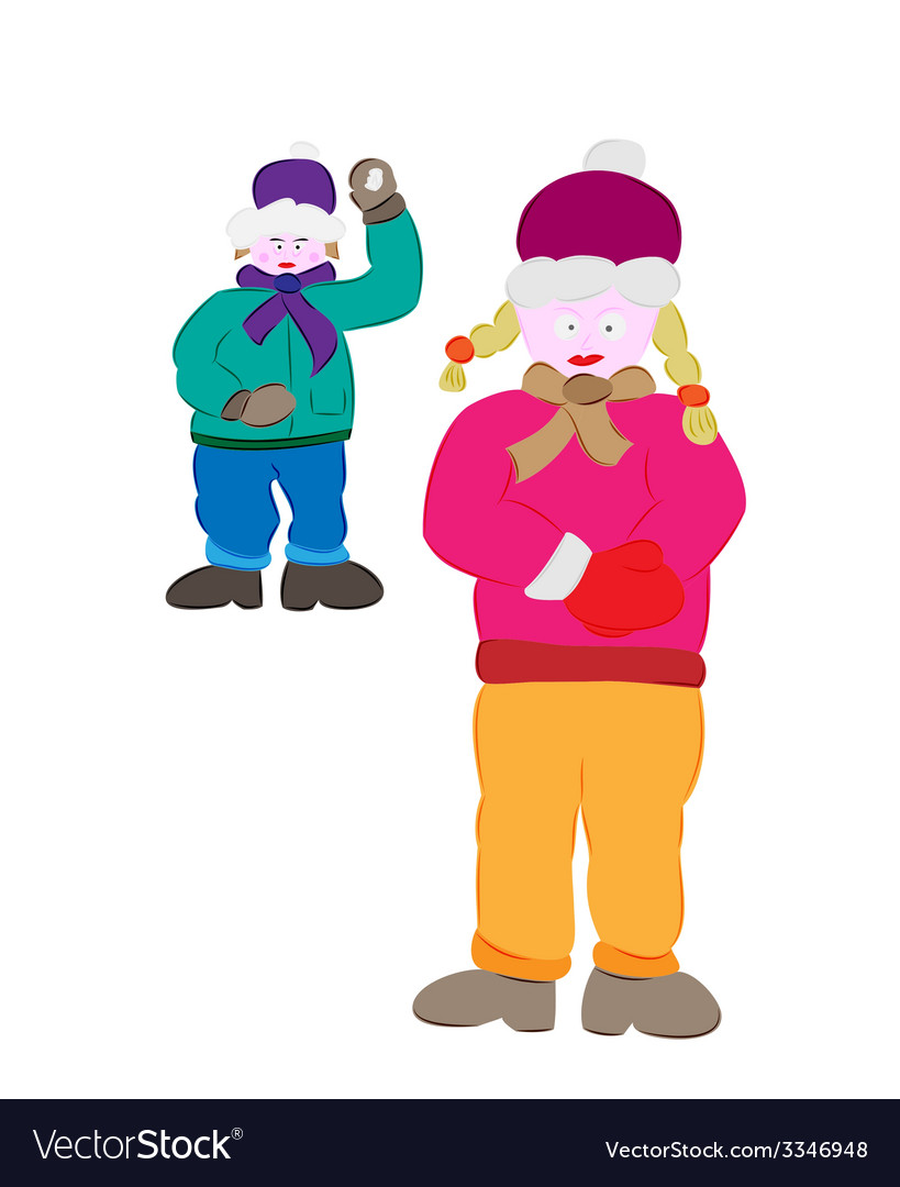 Winter boy and girl vector   Price: 1 Credit (USD $1)