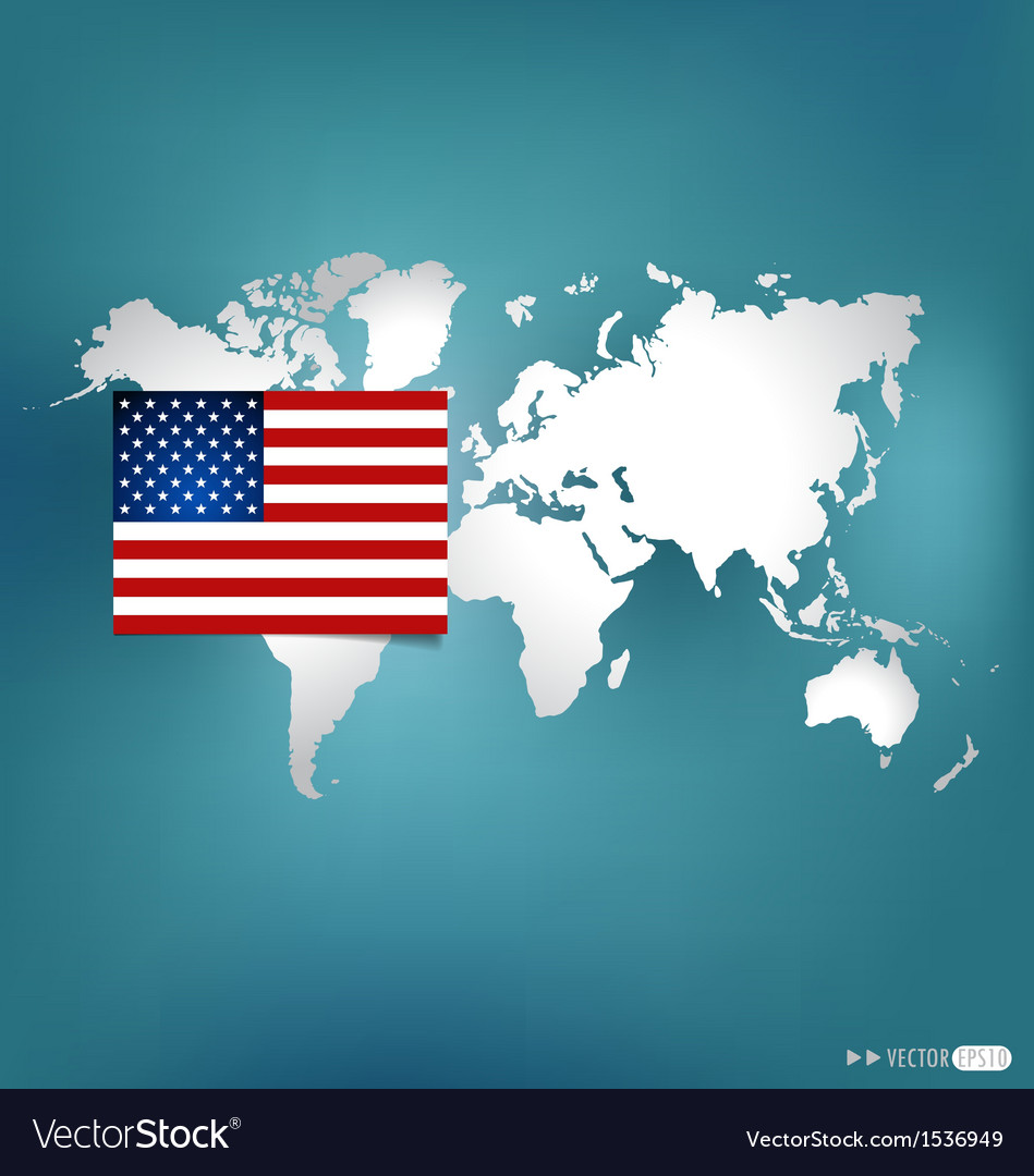 American flag on the map vector | Price: 1 Credit (USD $1)