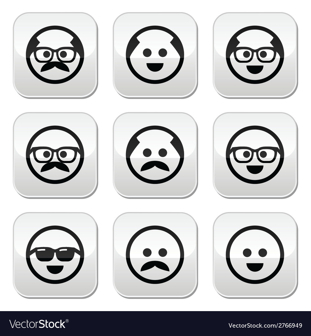 Bald man with mustache and in glasses faces button vector | Price: 1 Credit (USD $1)