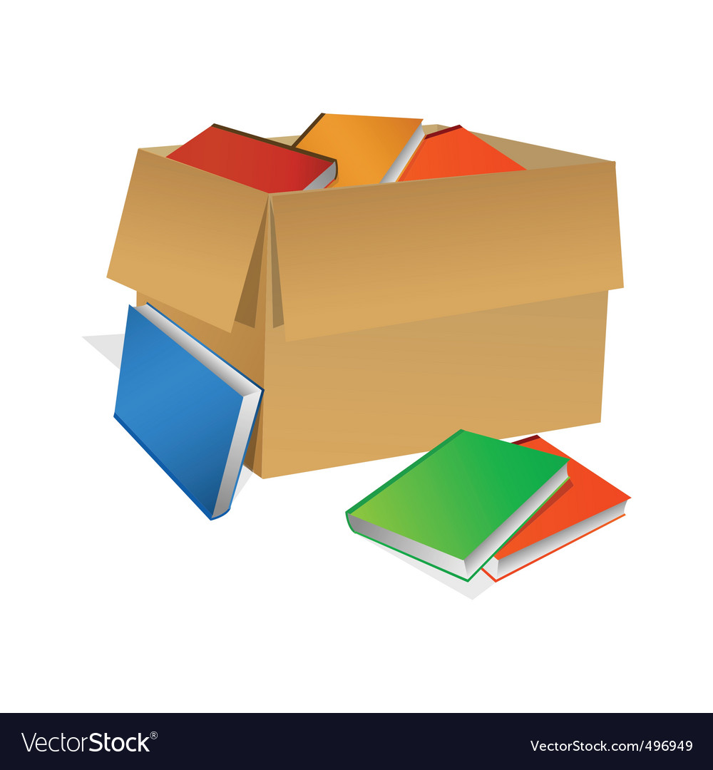 Books in box vector | Price: 1 Credit (USD $1)