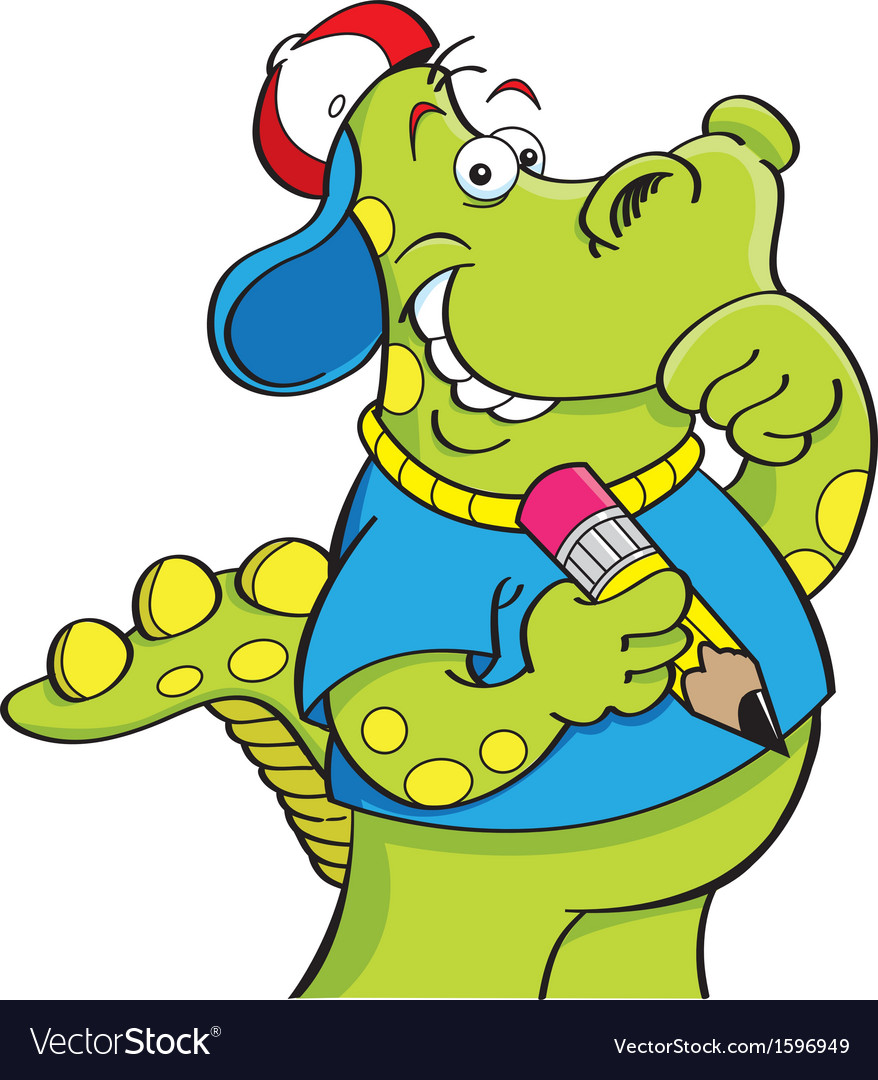 Cartoon dinosaur holding a pencil vector