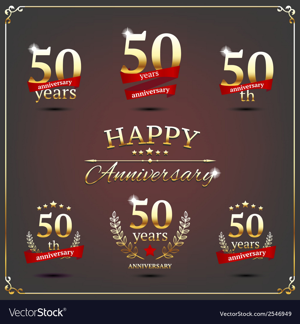 Fifty years anniversary signs collection vector | Price: 1 Credit (USD $1)