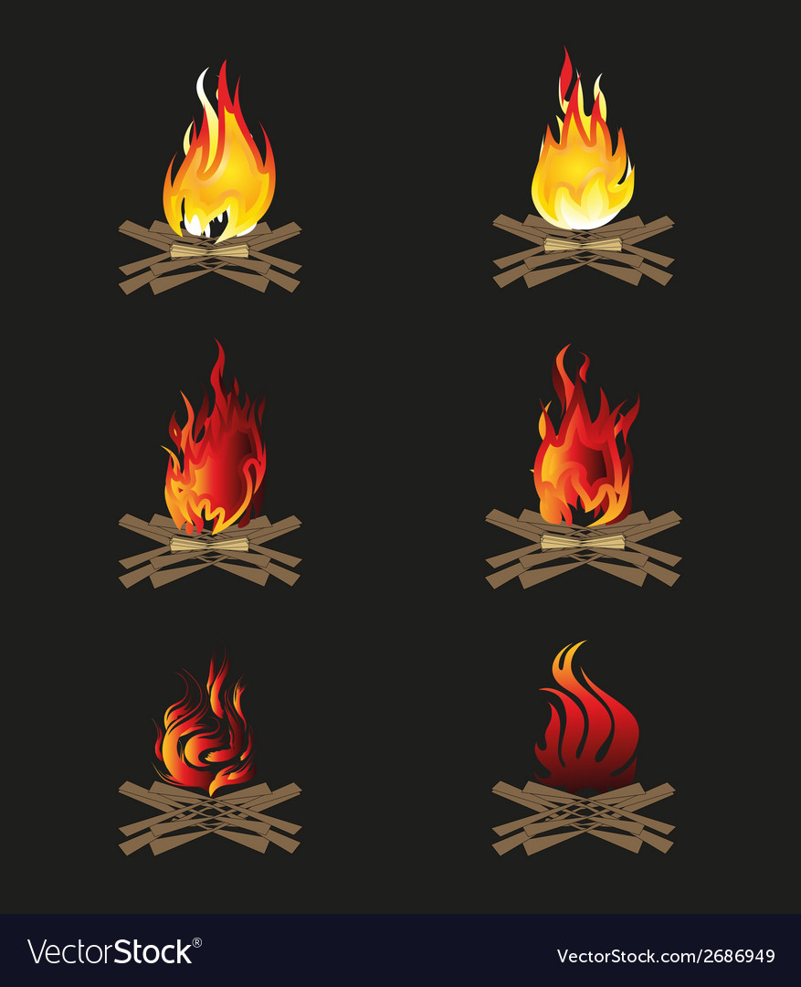 Firewood and flame bonfire vector | Price: 1 Credit (USD $1)