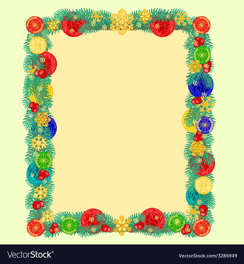 Frame from christmas tree branches of spruce vector | Price: 1 Credit (USD $1)