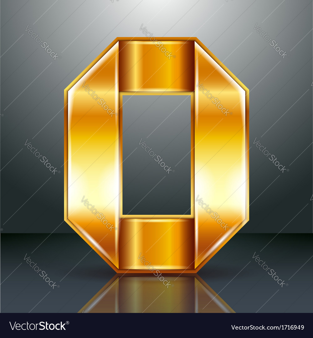 Number metal gold ribbon - 0 - zero vector | Price: 1 Credit (USD $1)