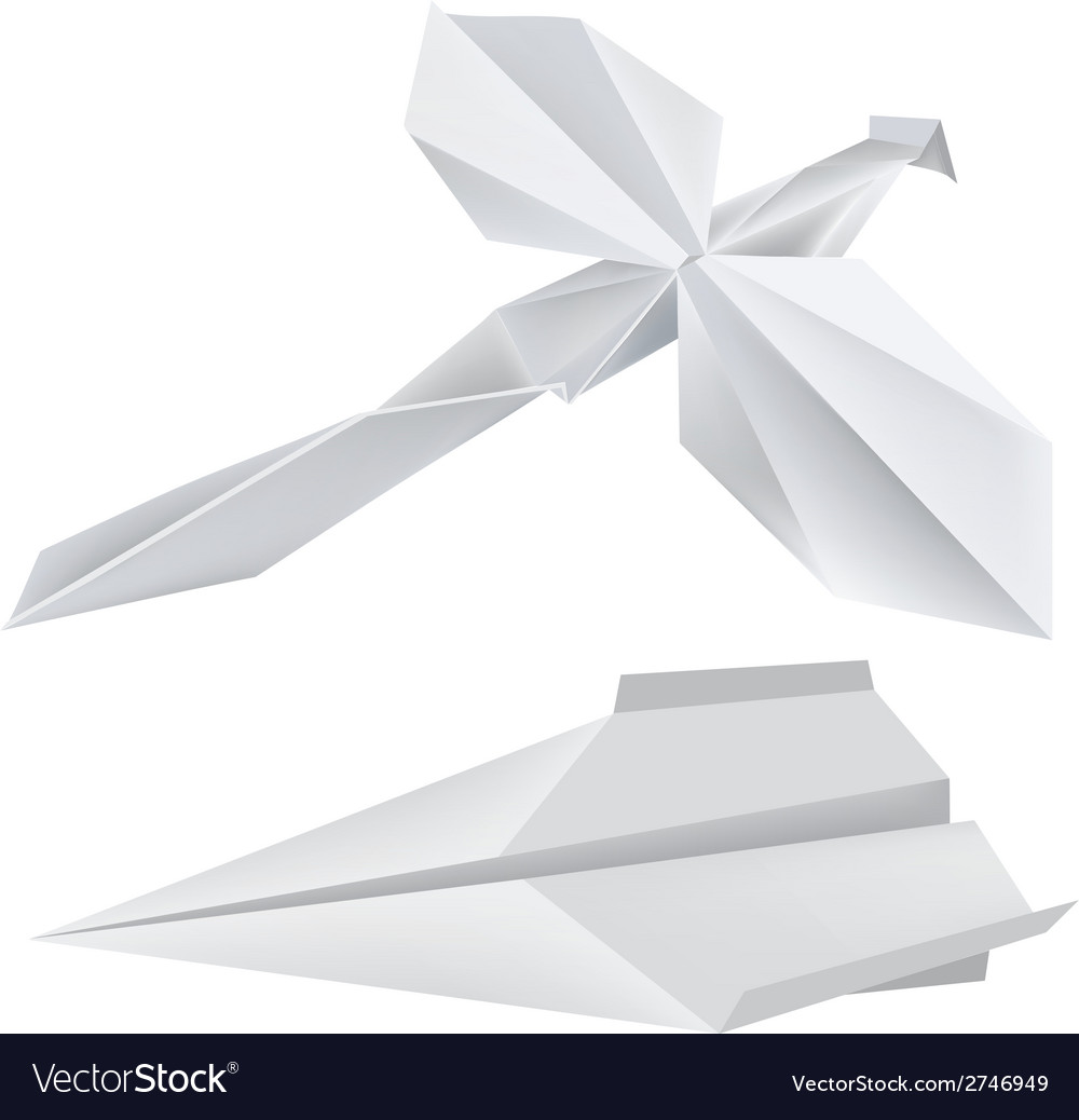 Origami dragonfly airplane vector | Price: 3 Credit (USD $3)