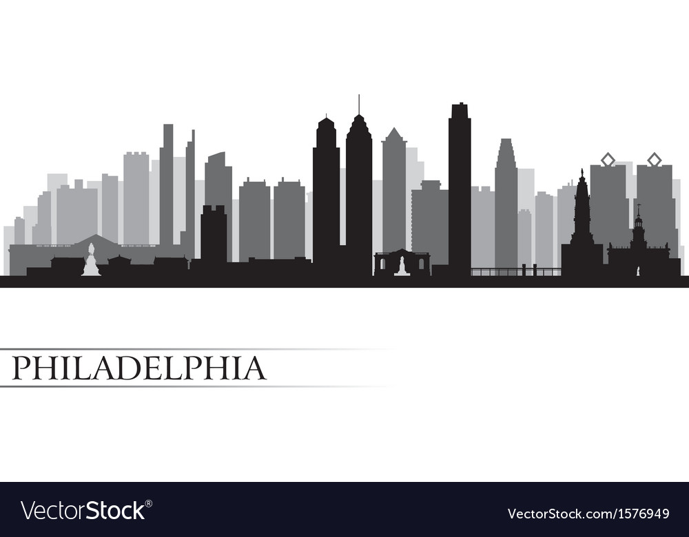 Philadelphia city skyline detailed silhouette vector | Price: 1 Credit (USD $1)
