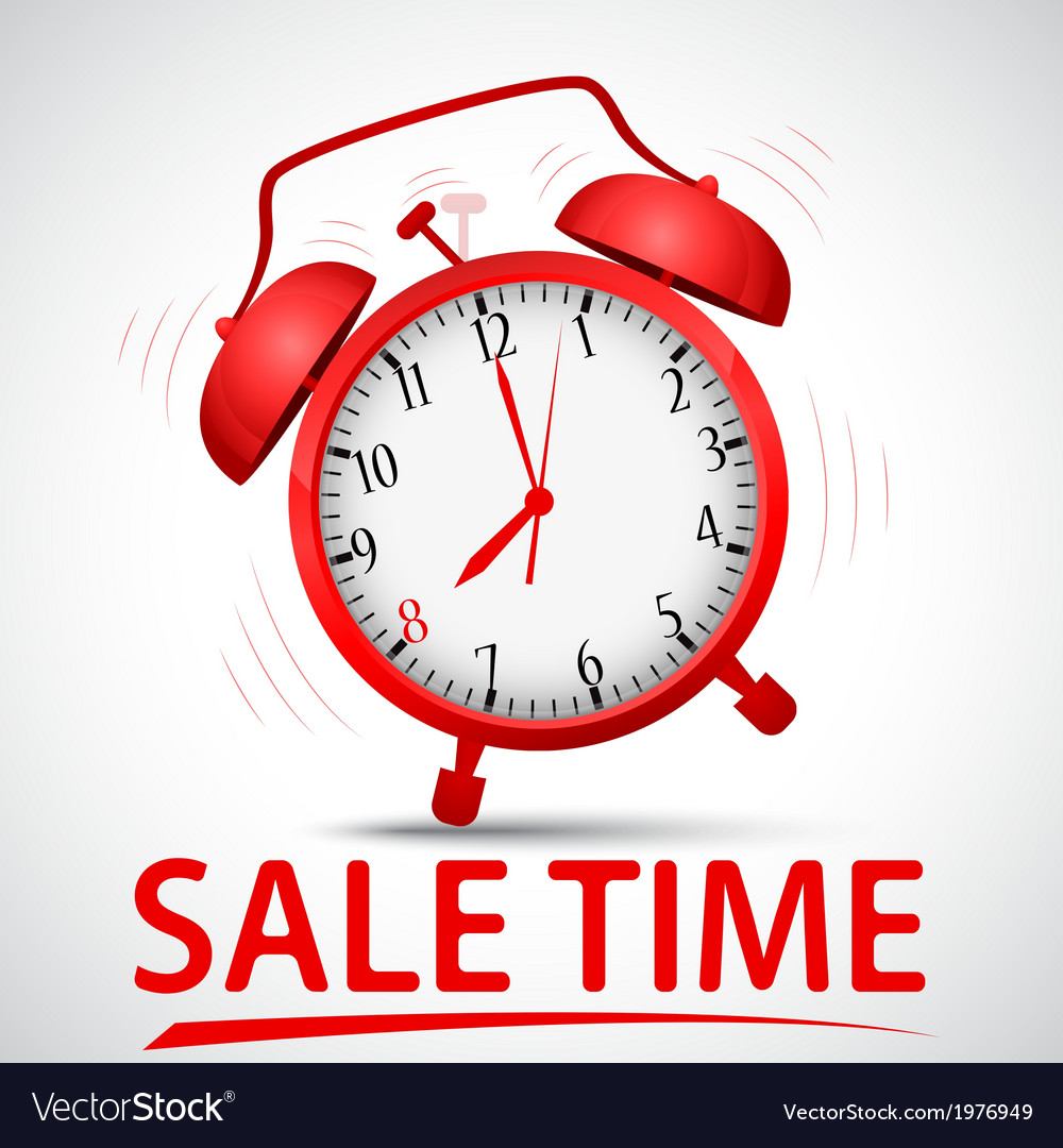 Sale promotion with alarm clock vector | Price: 1 Credit (USD $1)