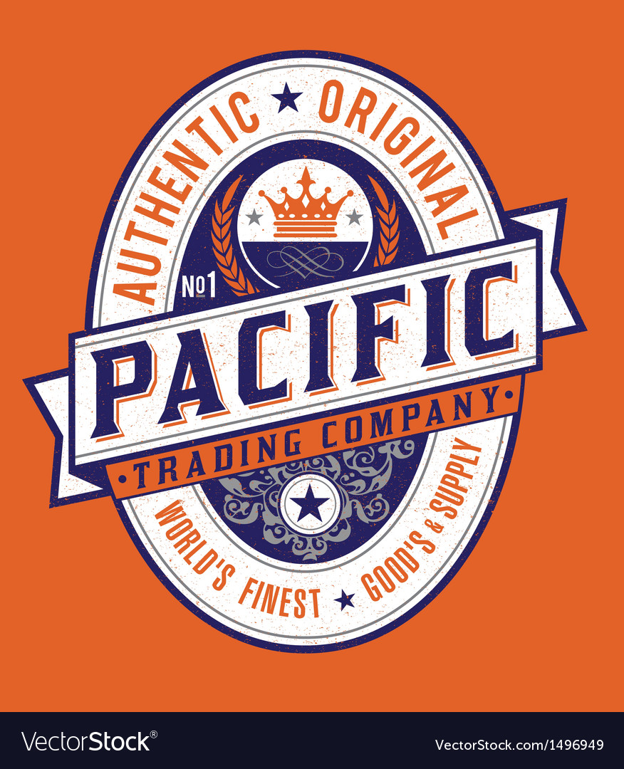 Vintage americana style pacific label vector | Price: 1 Credit (USD $1)