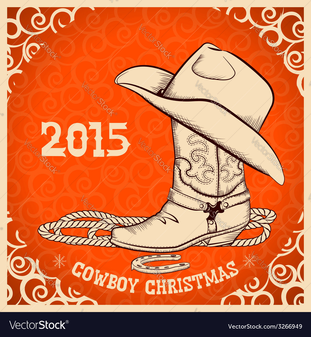 Western new year greeting card with cowboy objects vector | Price: 1 Credit (USD $1)