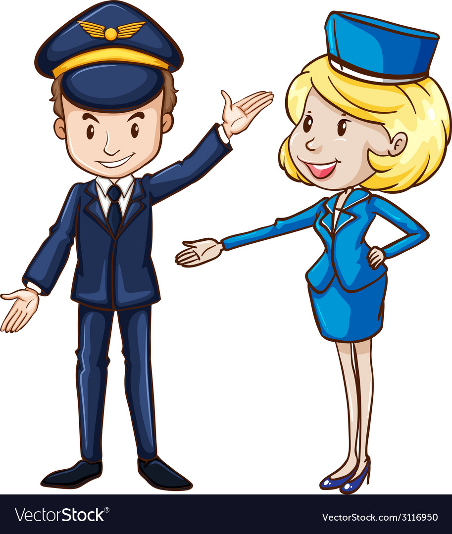 A simple drawing of a pilot and a stewardess vector | Price: 1 Credit (USD $1)