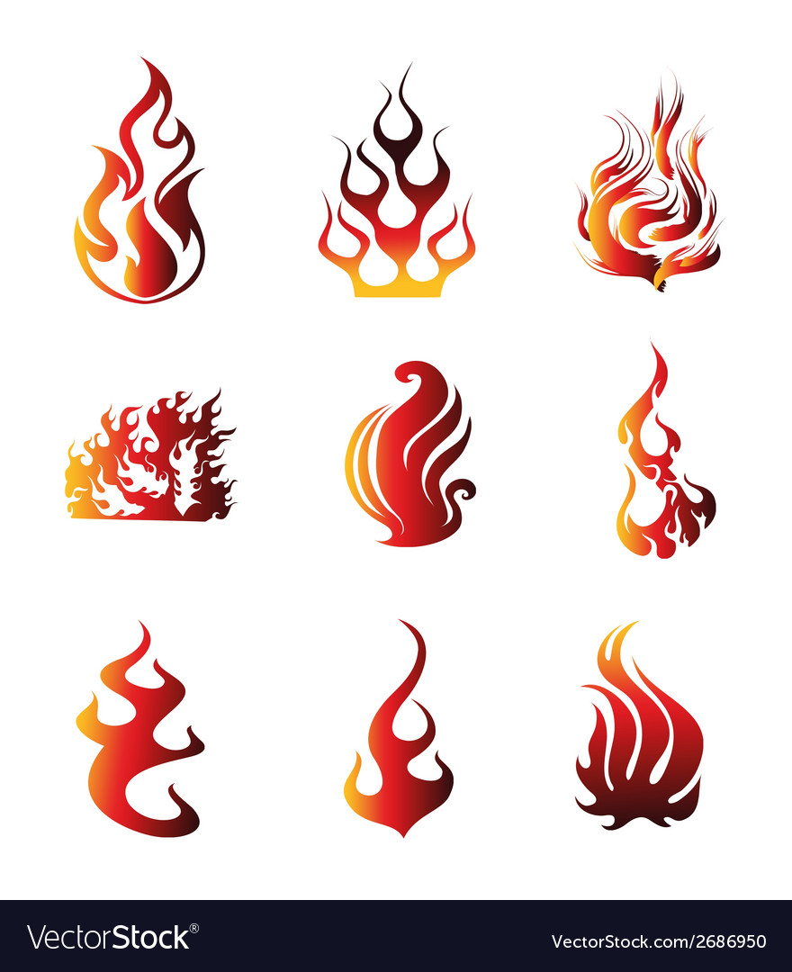 Fire symbol icons vector | Price: 1 Credit (USD $1)