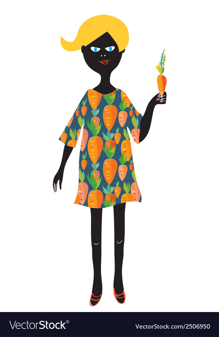 Girl with carrot - vegetarian concept vector | Price: 1 Credit (USD $1)
