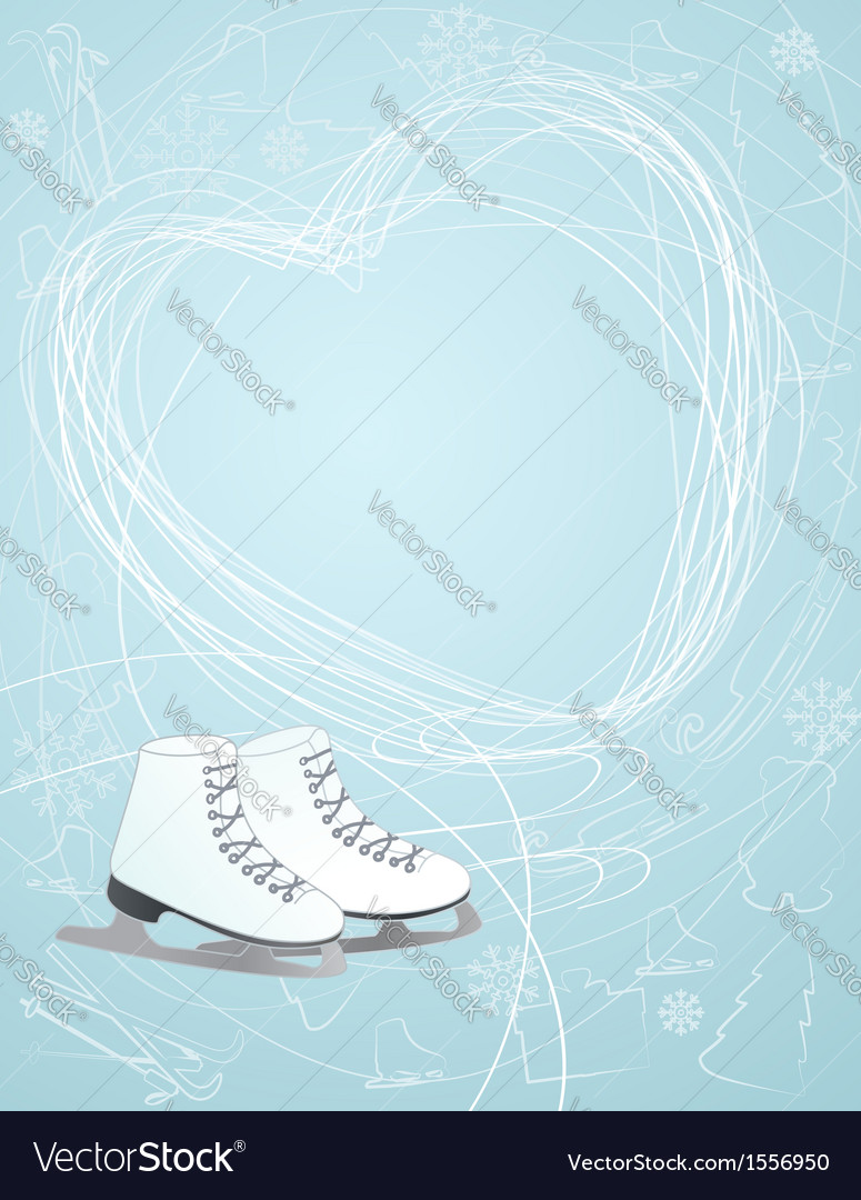Ice skates with a heart symbol vector | Price: 1 Credit (USD $1)