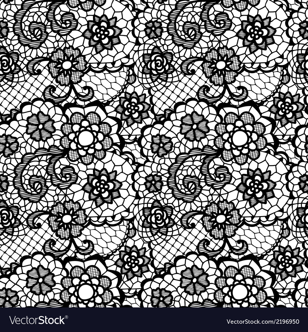 Lace seamless pattern with flowers vector | Price: 1 Credit (USD $1)