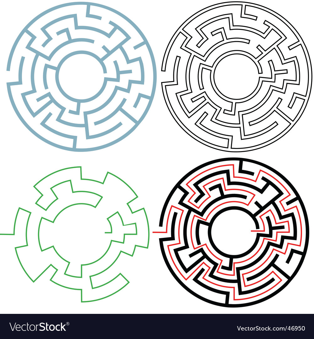 Radial circle maze vector | Price: 1 Credit (USD $1)