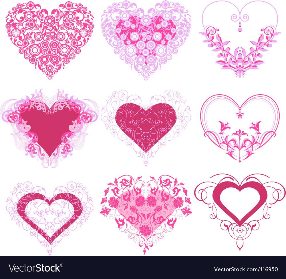 Red hearts with filigree ornament vector | Price: 1 Credit (USD $1)