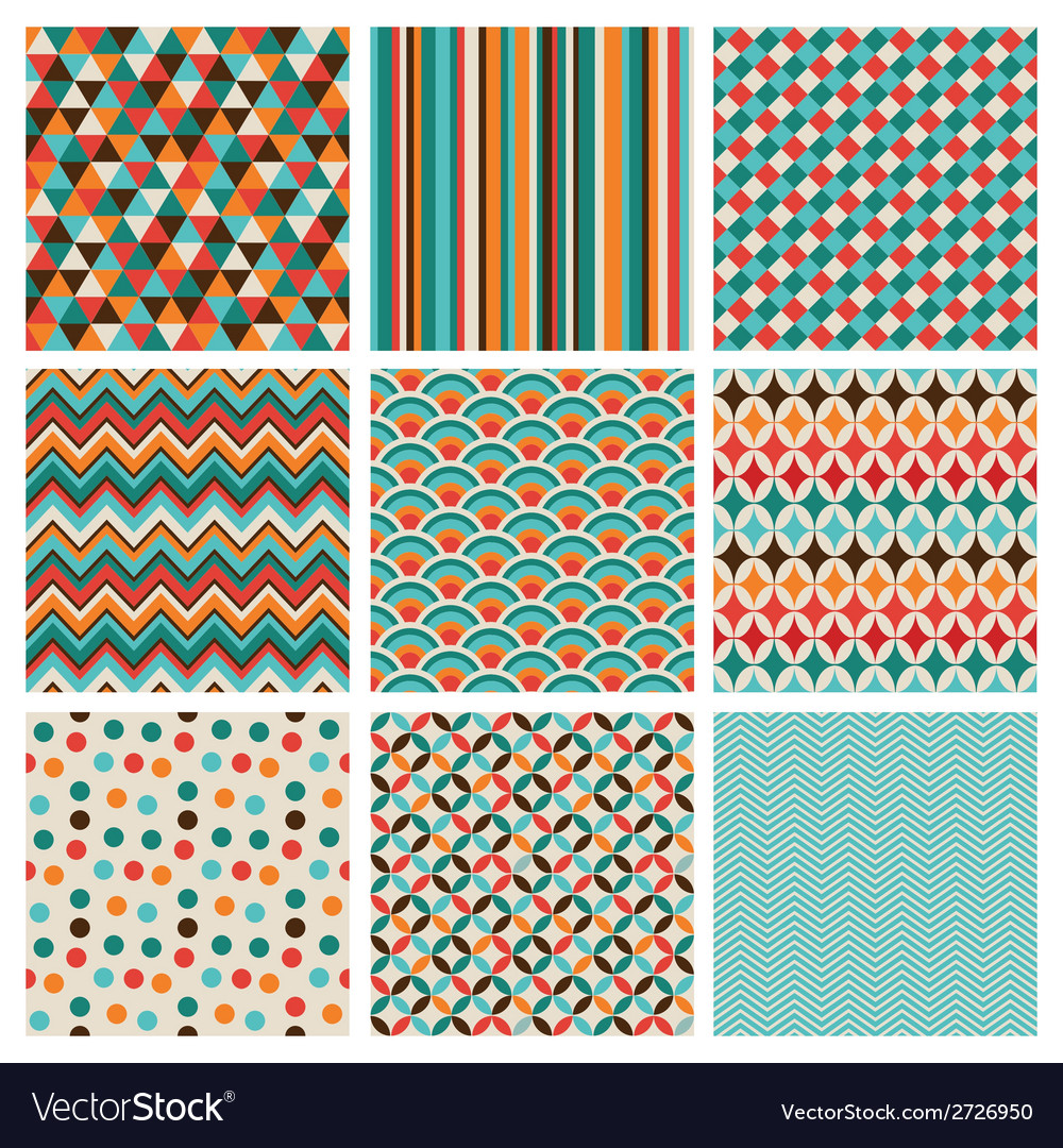 Seamless retro geometric hipster background set vector | Price: 1 Credit (USD $1)