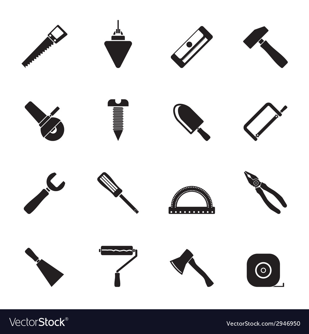 Silhouette construction and building tools icons vector | Price: 1 Credit (USD $1)