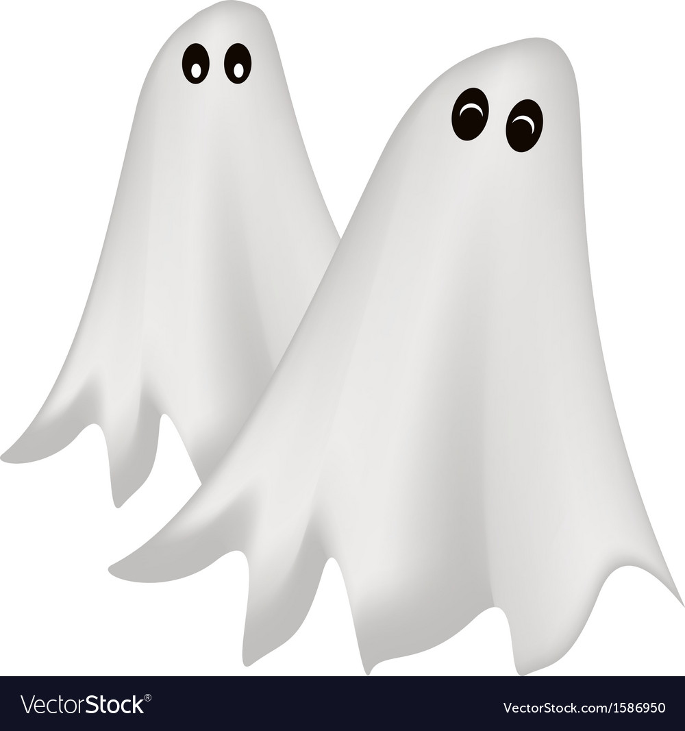 Two happy halloween ghost on white background vector | Price: 1 Credit (USD $1)