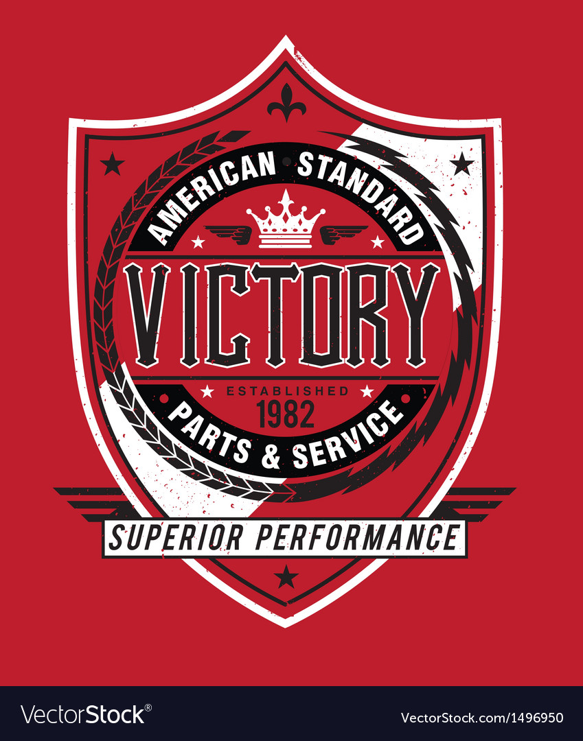 Vintage americana style victory label vector | Price: 1 Credit (USD $1)