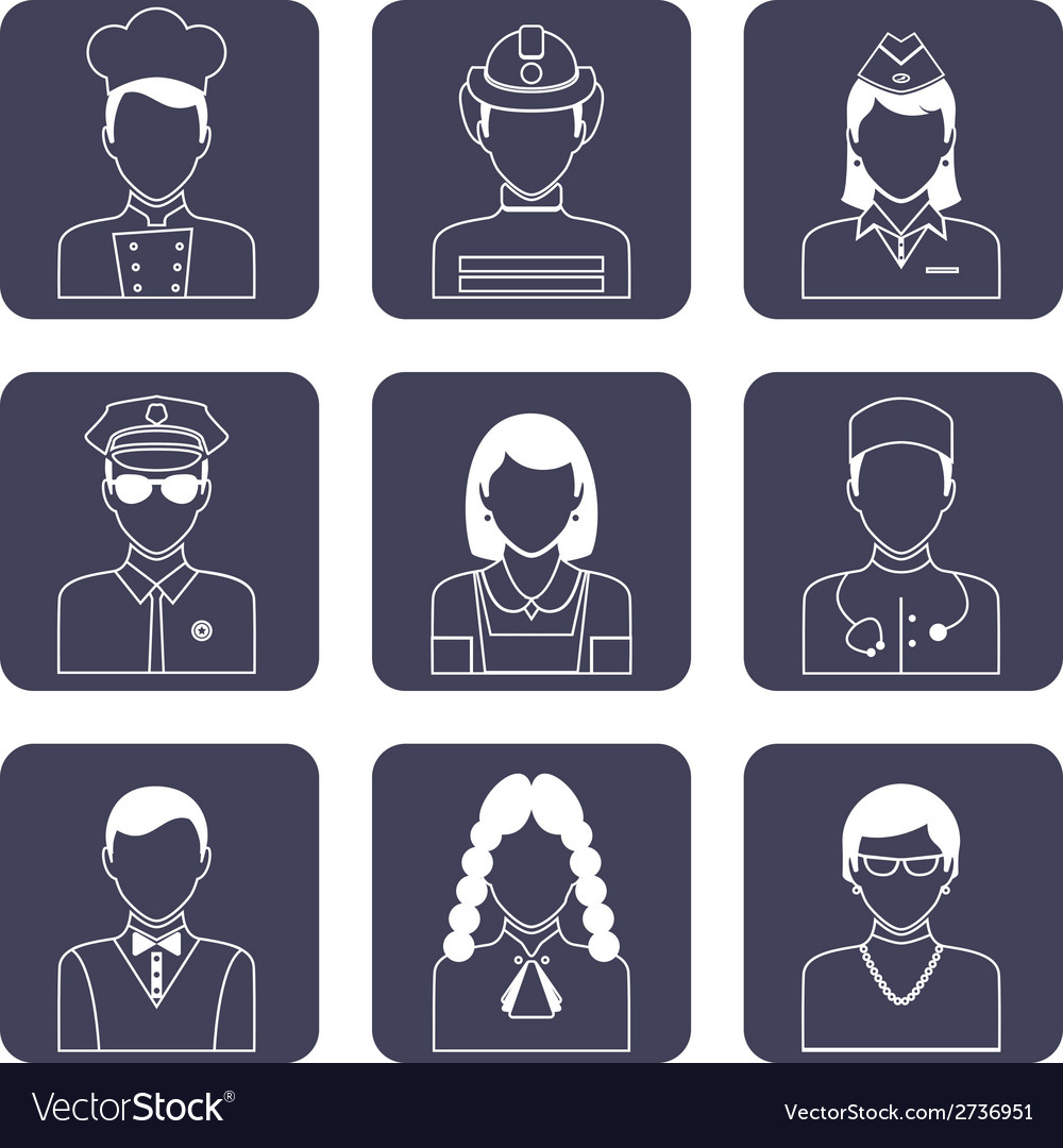 Avatar icons set vector | Price: 1 Credit (USD $1)