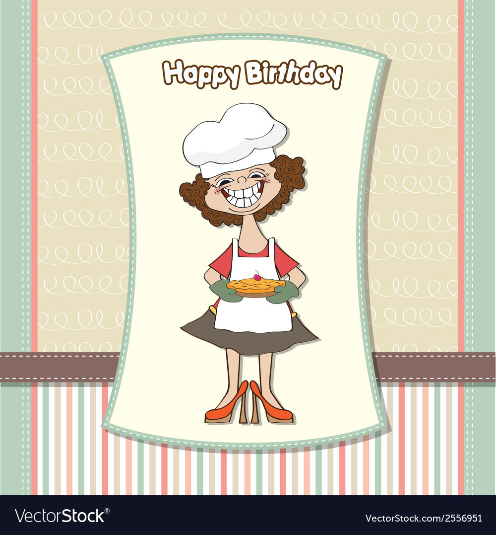 Birthday greeting card with funny woman and pie vector | Price: 1 Credit (USD $1)