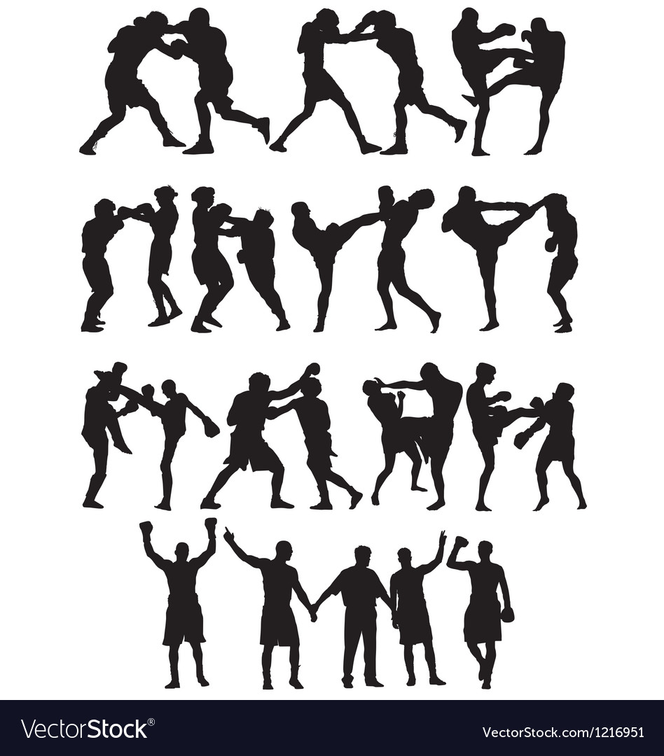 Boxing silhouettes vector | Price: 1 Credit (USD $1)