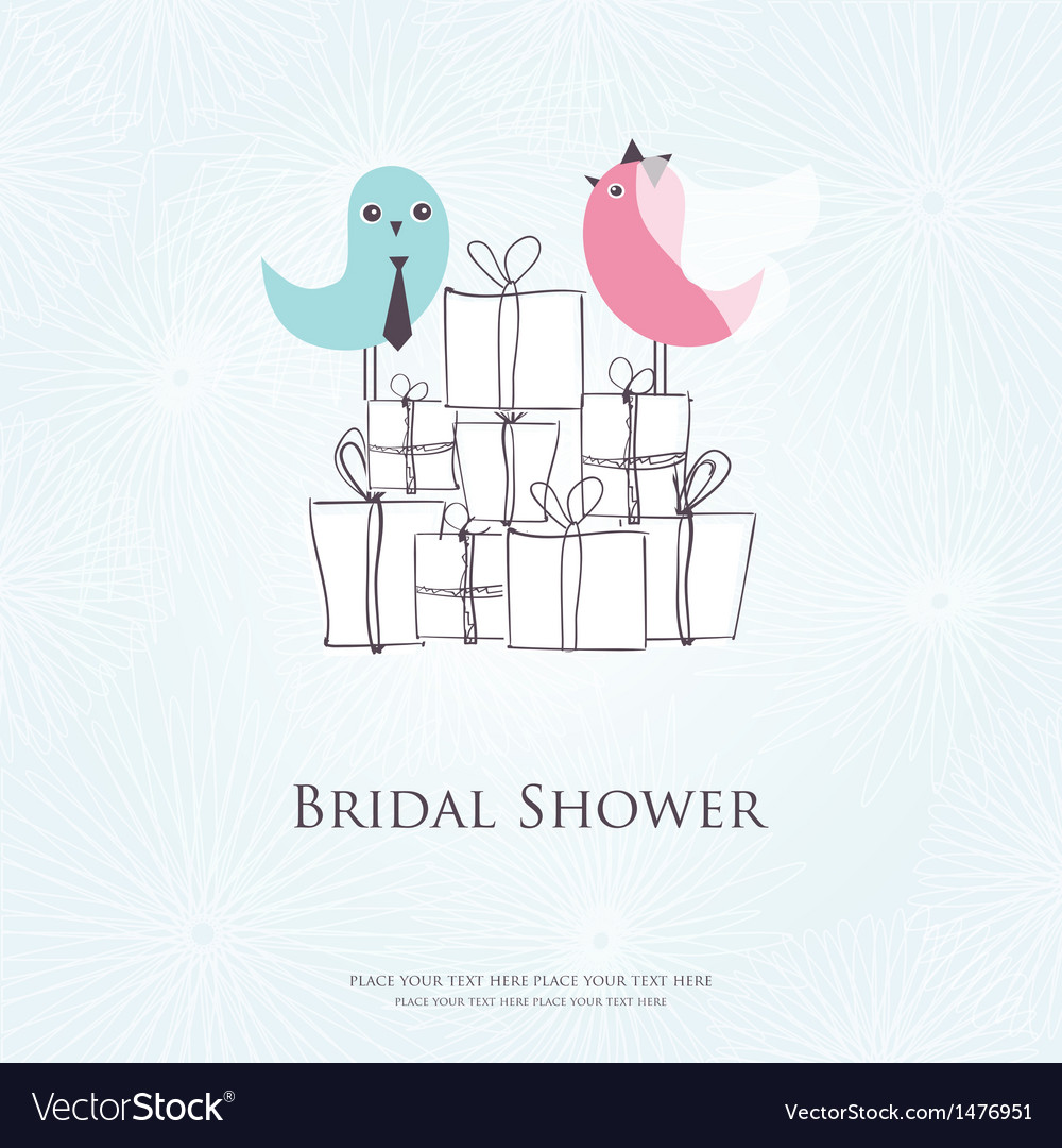 Bridal shower invitation with two cute birds in vector | Price: 1 Credit (USD $1)