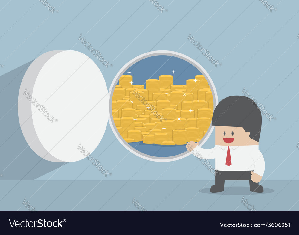 Businessman and opened vault door with gold coins vector | Price: 1 Credit (USD $1)