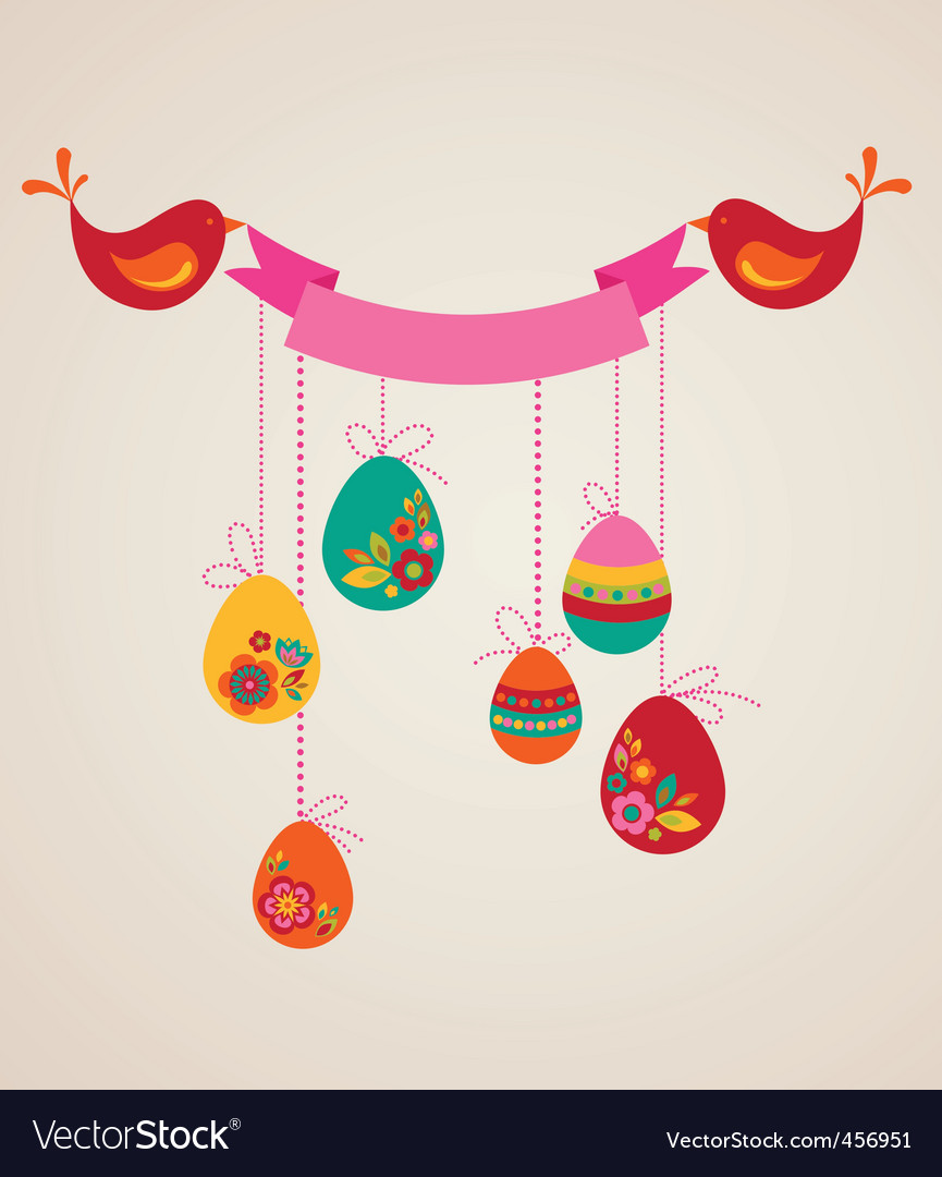 Floral easter banner vector | Price: 1 Credit (USD $1)