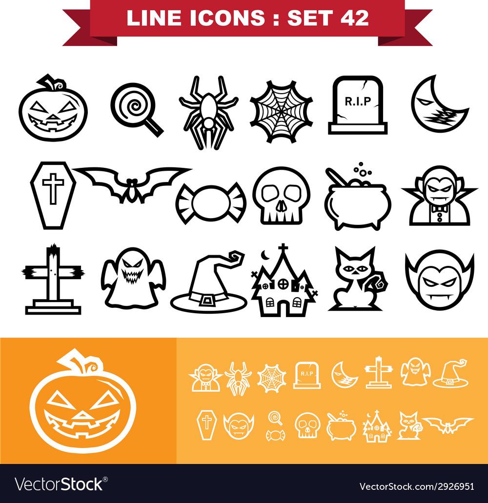 Halloween line icons set 41 vector | Price: 1 Credit (USD $1)