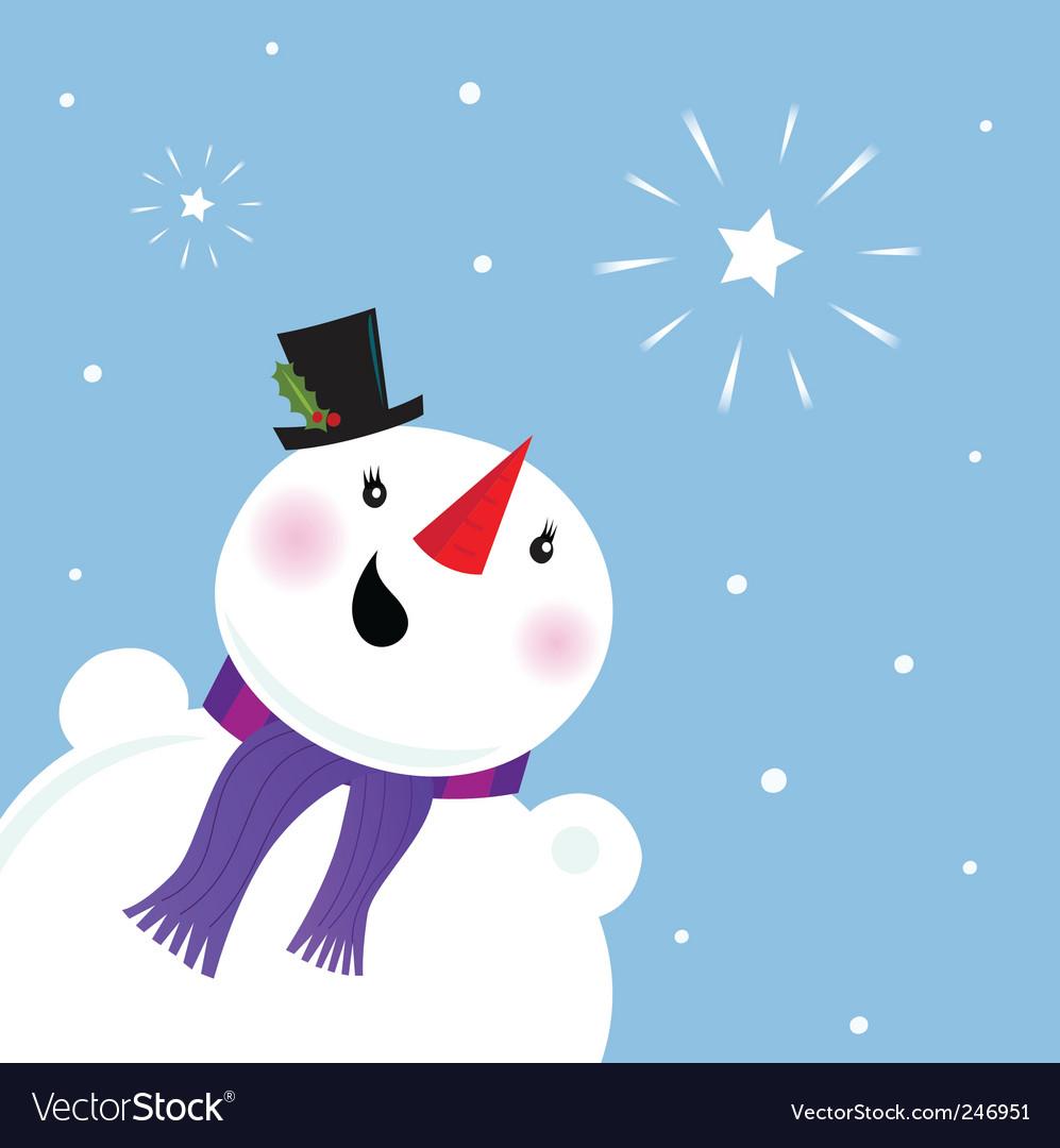 Happy snowman looking at snow vector | Price: 1 Credit (USD $1)