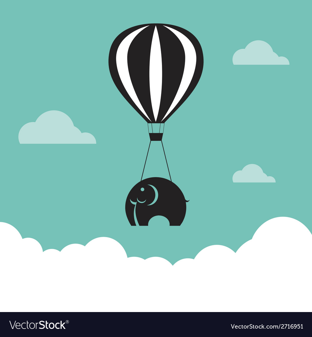 Image of elephant with balloons vector | Price: 1 Credit (USD $1)