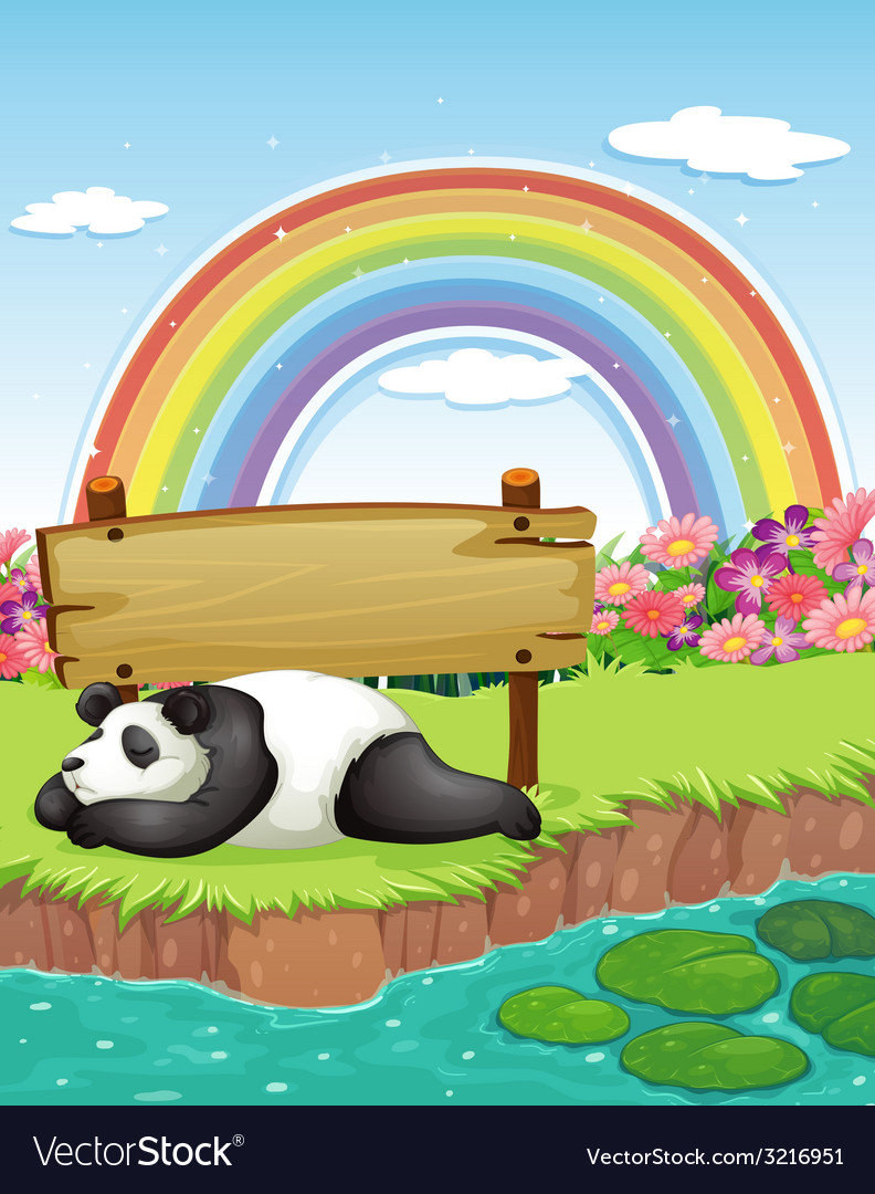 Panda and rainbow vector | Price: 3 Credit (USD $3)