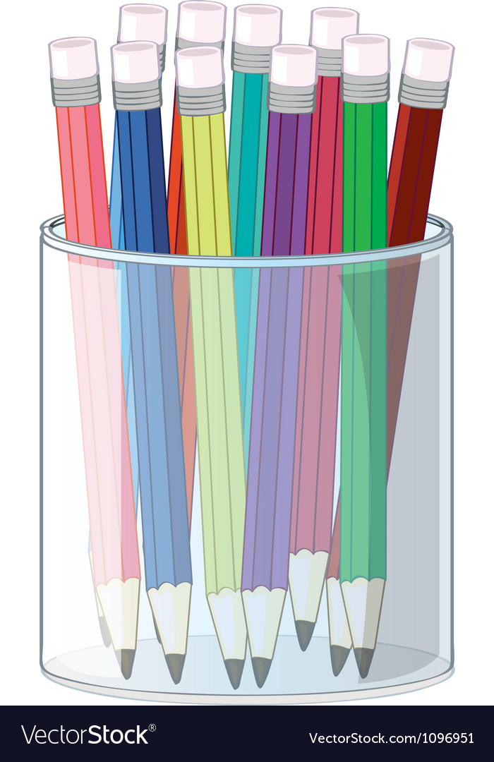 Pencils and a cup vector | Price: 1 Credit (USD $1)