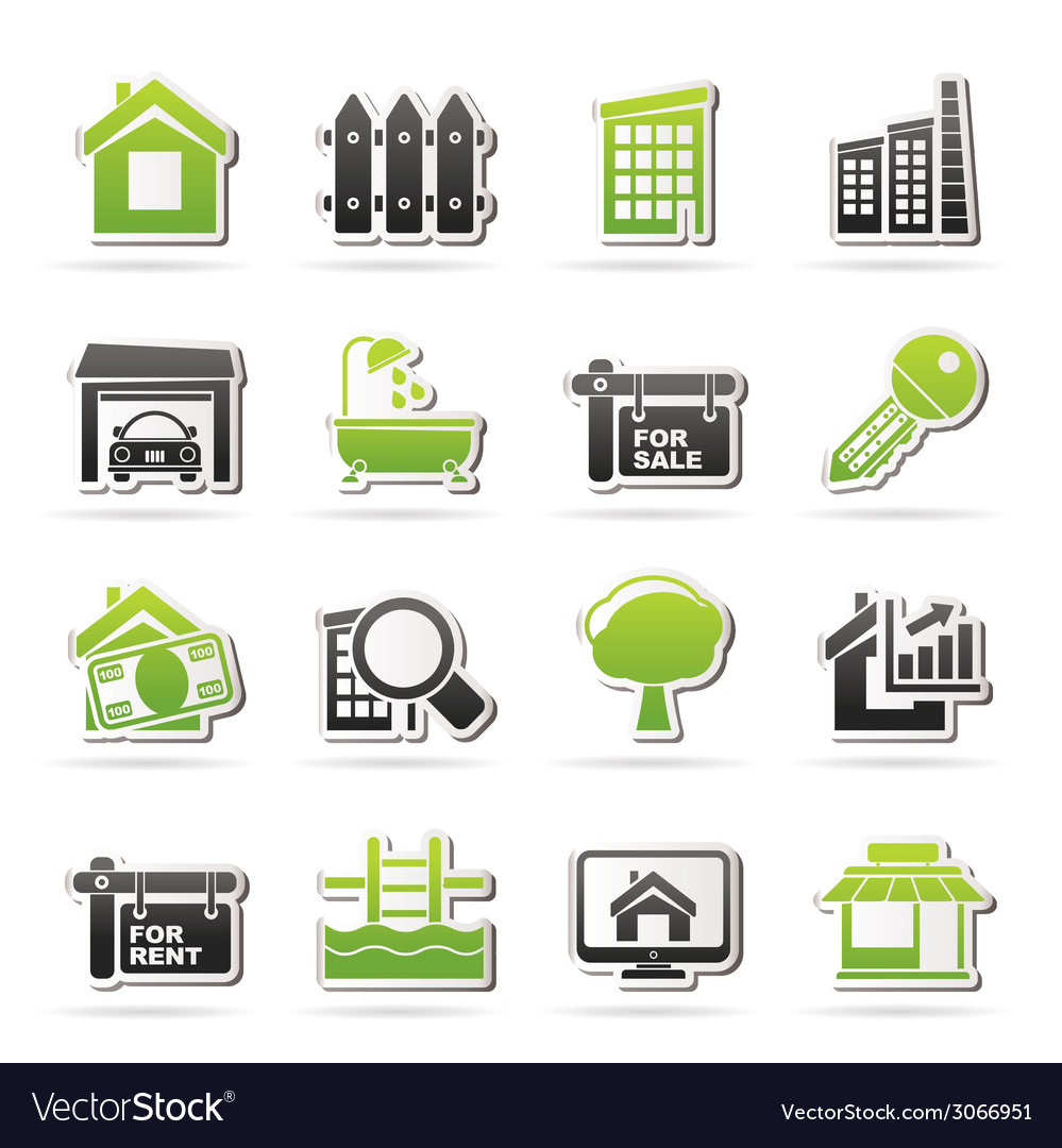 Real estate icons vector   Price: 1 Credit (USD $1)