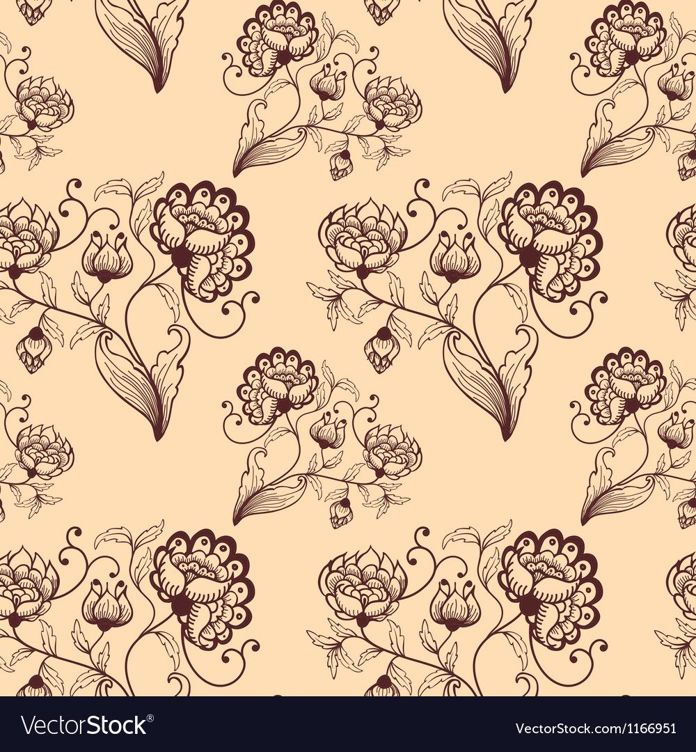 Retro seamless background with stylized flowers vector | Price: 1 Credit (USD $1)