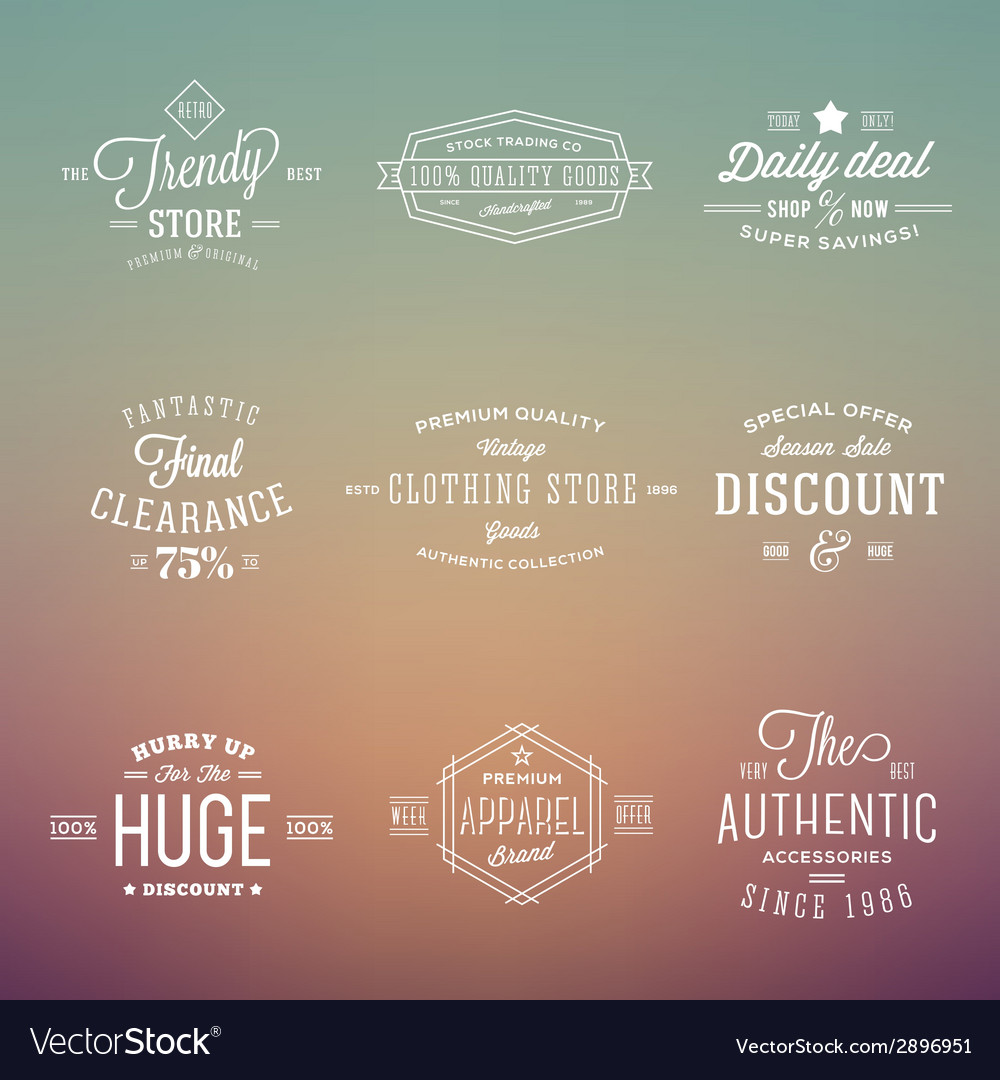 Retro typography labels badges set on abstract vector | Price: 1 Credit (USD $1)