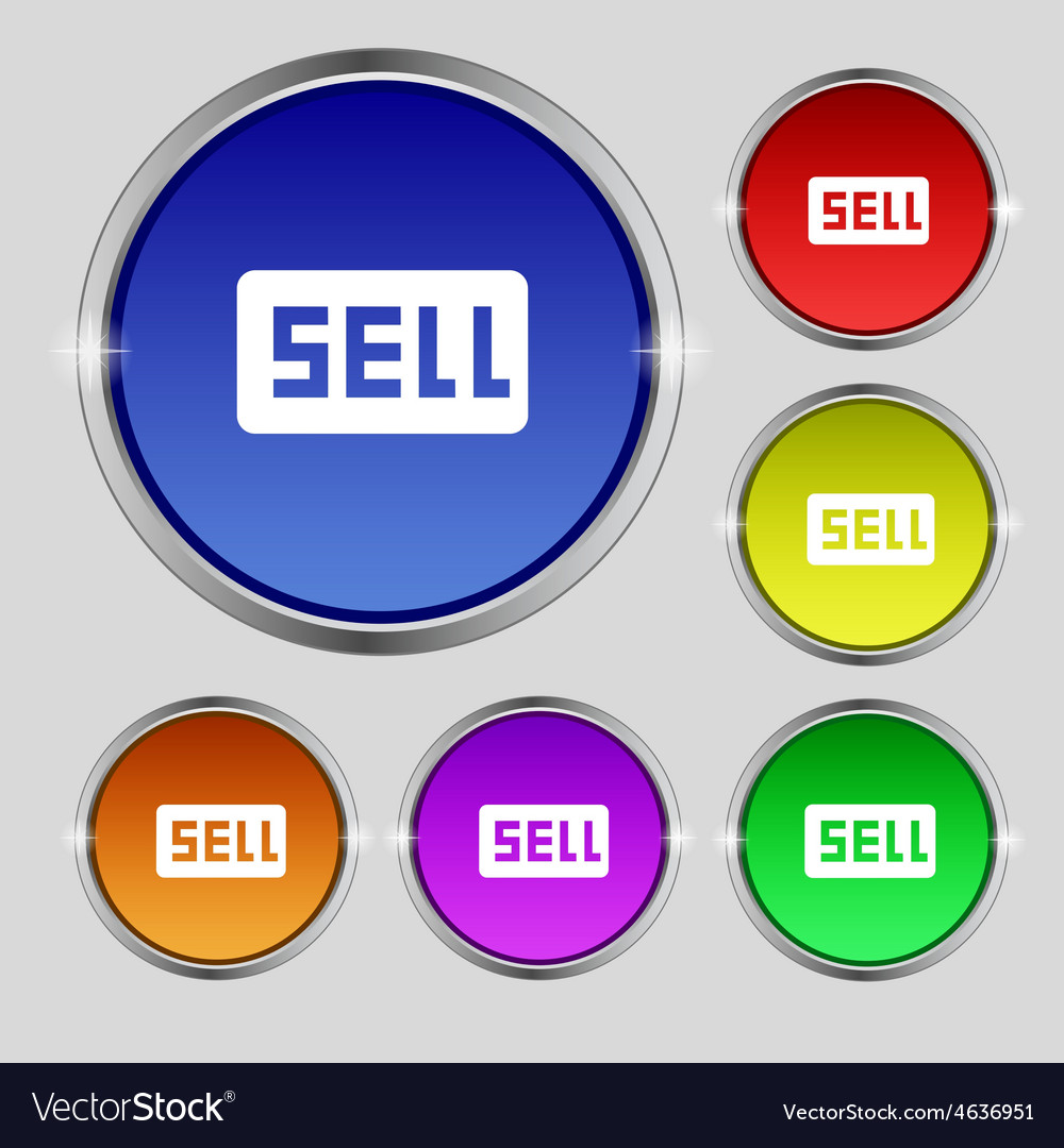 Sell contributor earnings icon sign round symbol vector | Price: 1 Credit (USD $1)
