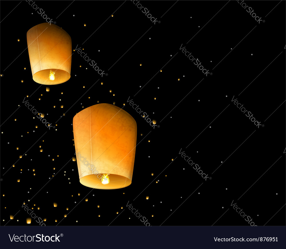 Sky lanterns vector | Price: 1 Credit (USD $1)