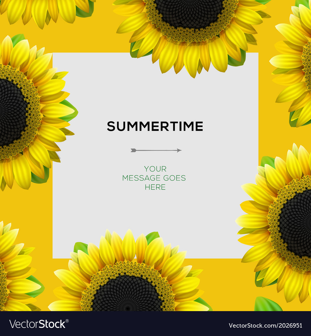 Summertime template with sunflowers background vector | Price: 1 Credit (USD $1)