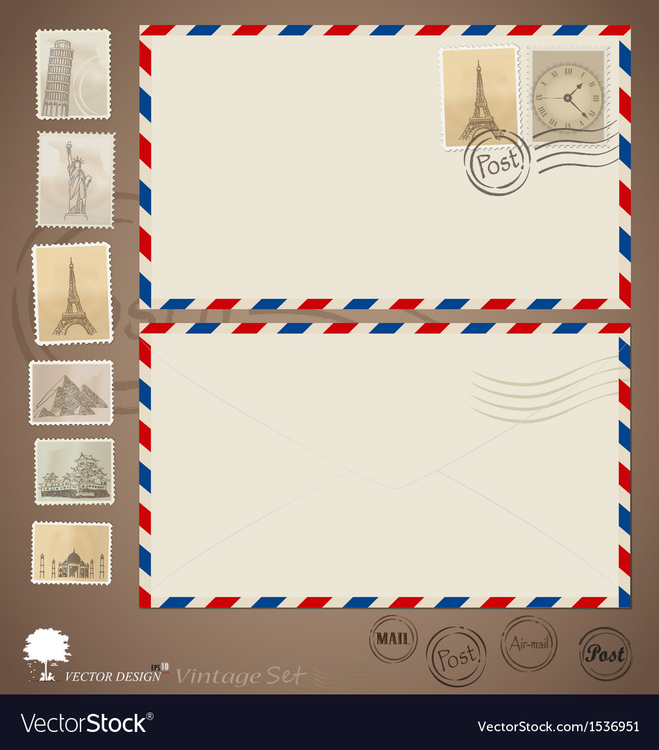 Vintage envelope designs and stamps vector | Price: 1 Credit (USD $1)