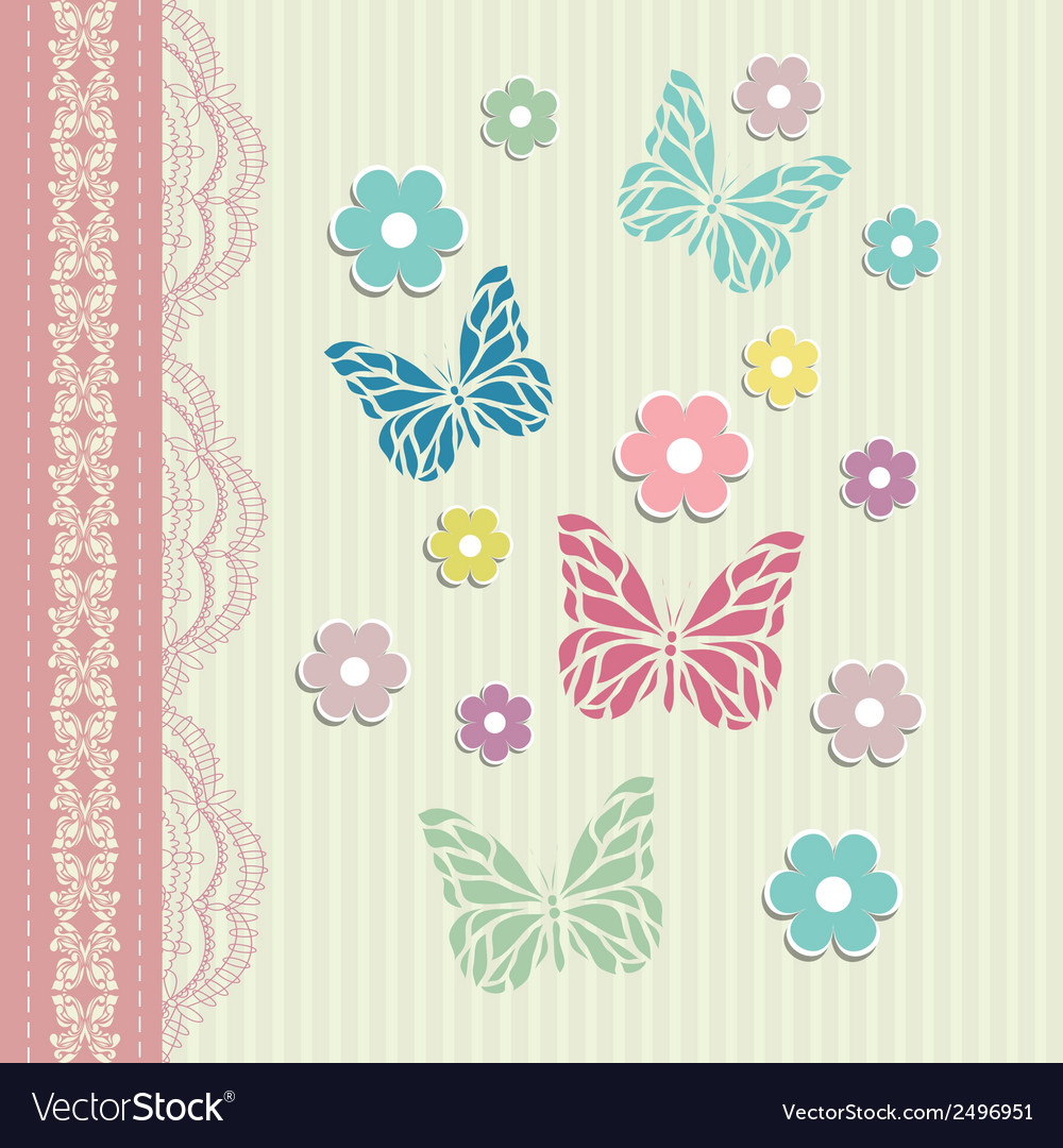 Vintage floral card background vector | Price: 1 Credit (USD $1)